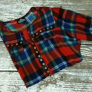 (Angie) Plaid Studded Top